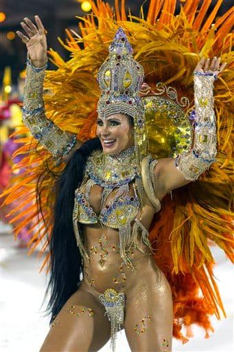 A dancer performs during the parade of Nene de Vila Matilde samba school in Sao Paulo, Brazil.