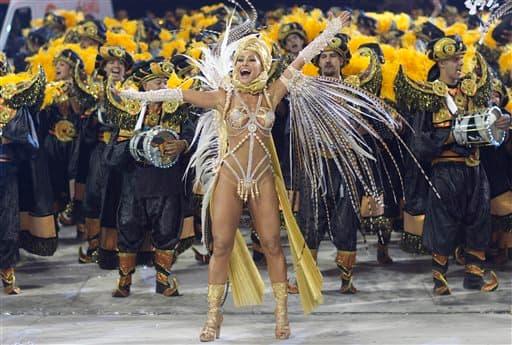 Comedian Sabrina Sato performs during the parade of Gavioes da Fiel samba school in Sao Paulo, Brazil.