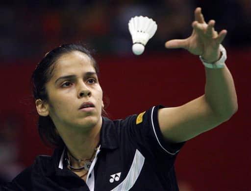 Saina Nehwal of India serves against Eriko Hirose of Japan during the women`s singles semifinal rounds at the Indonesia Open Badminton Super Series Saturday June 26, 2010 at Istora Senayan in Jakarta, Indonesia. Nehwal won the match, 21-9 21-10.