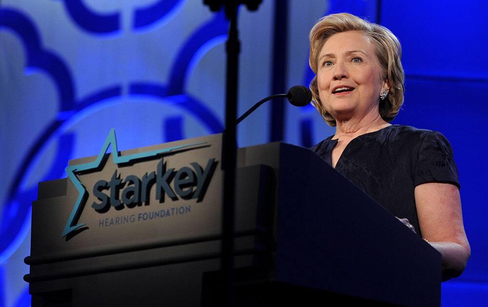 Former US Secretary of State Hillary Rodham Clinton speaks at the Starkey Hearing Foundation`s `So the World May Hear` Awards Gala in St. Paul, Minn.