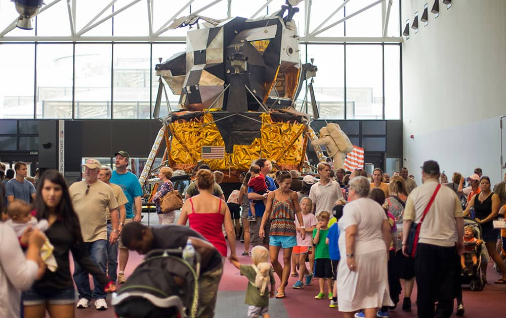 An Apollo Lunar Module, one of 12 built for Project Apollo, is seen on display at the Smithsonian`s National Air and Space Museum on the 45th anniversary of Apollo 11 lunar landing, in Washington.