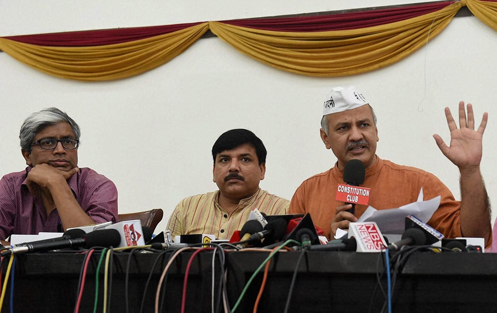 AAP leaders Manish Sisodia, Sanjay Singh, Gopal Rai and Ashutosh during a press conference in New Delhi.