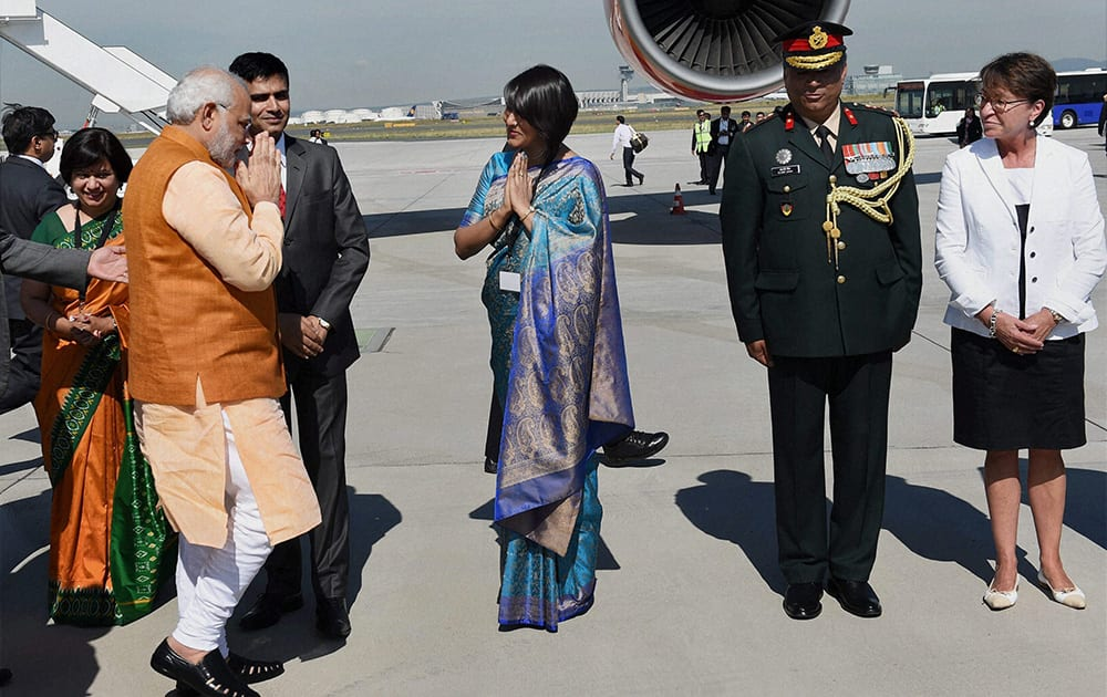 Prime Minister Narendra Modi upon his arrival at Frankfurt International Airport on Thursday on his way back to New Delhi after BRICS Summit.