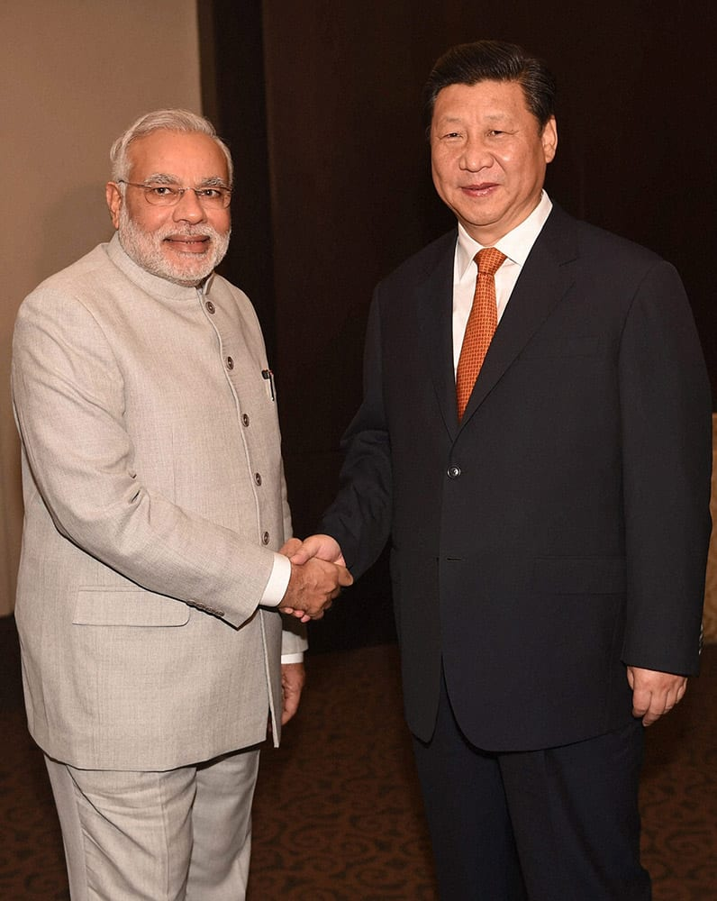 Prime Minister Narendra Modi with President of China Xi Jinping during the bilateral meeting in Fortaleza in Brazil.