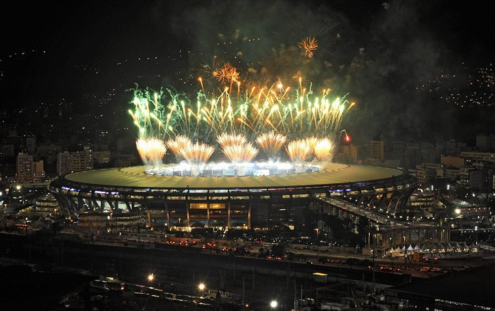 A fireworks display is seen over the Maracana stadium after the soccer World Cup final match between Argentina and Germany, in Rio de Janeiro, Brazil.