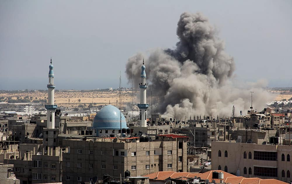 An Israeli missile hits an area in Rafah, southern Gaza Strip. Israel says its punishing air assault on Hamas militants, their property and their weaponry has delivered a devastating blow to the Islamic militant group.