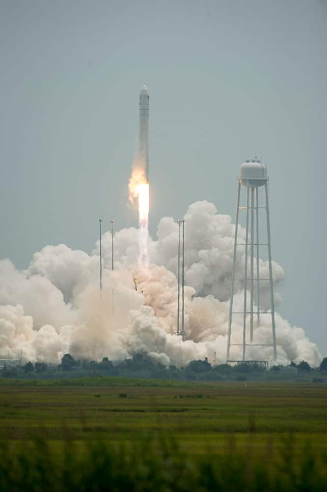 This photo provided by NASA, the Orbital Sciences Corporation Antares rocket launches with the Cygnus spacecraft onboard.
