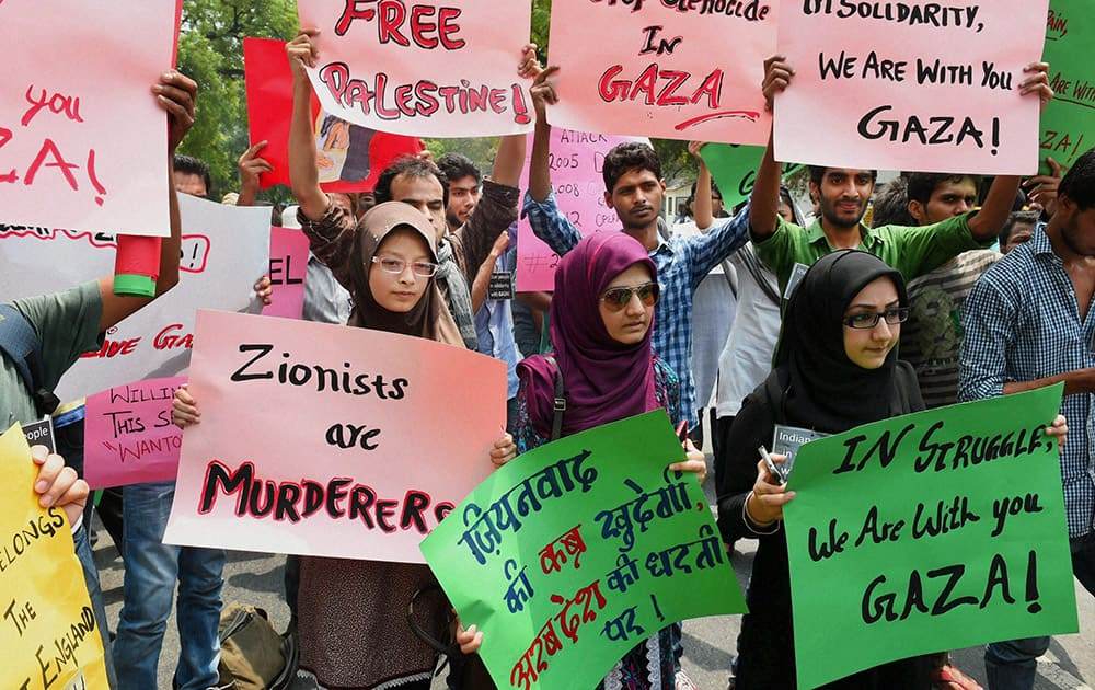 Group of Indian citizens protesting in front of Israeli embassy to demand an immediate end to the barbaric attack in Gaza, in New Delhi.