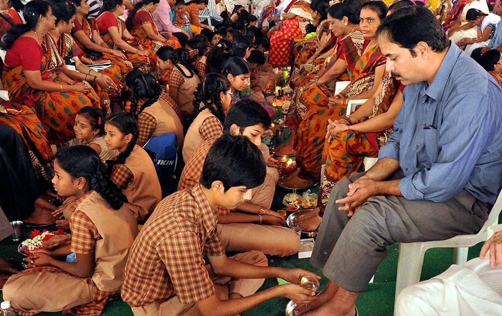 Teachers and students celebrate Guru Purnima at a school in Hyderabad.