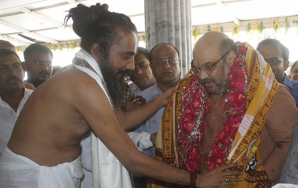 Bharatiya Janata Party President Amit Shah at Jagannathji Temple in Ahmedabad.