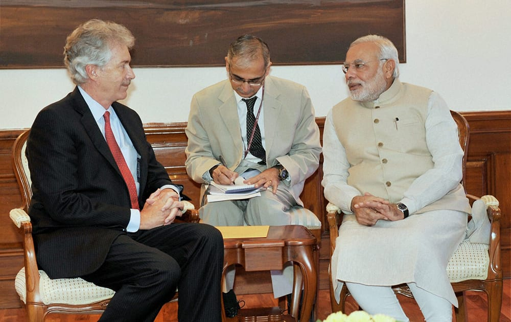 Prime Minister Narendra Modi in a meeting with US Deputy Secretary of State William Burns in New Delhi.