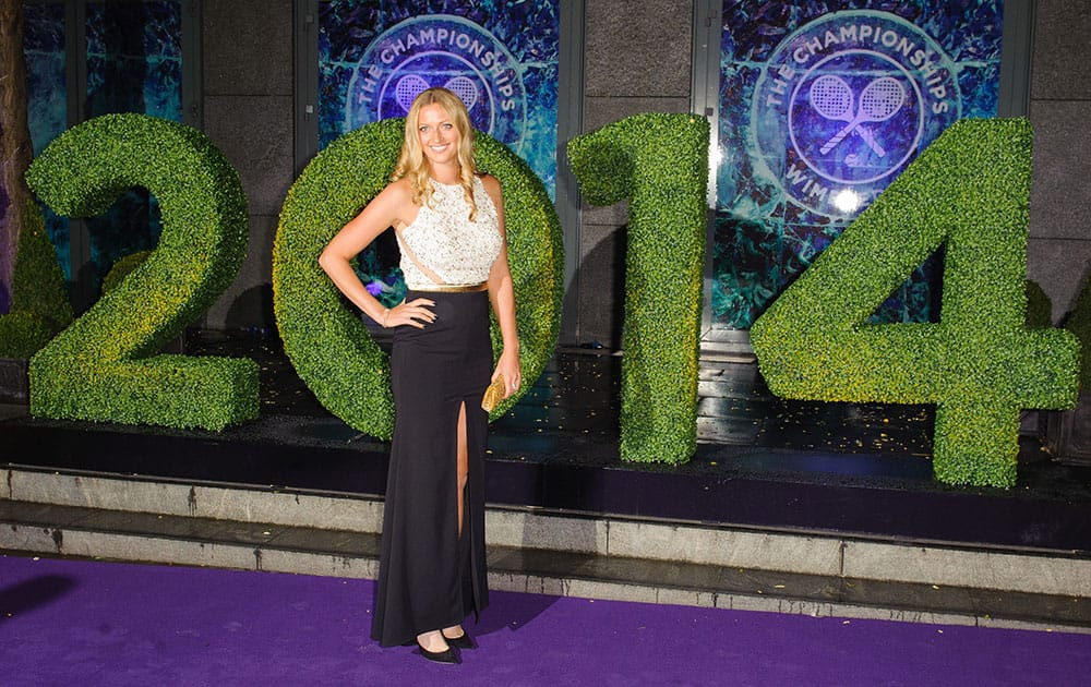 Wimbledon Women`s Tennis Singles champion Petra Kvitova arriving at the Wimbledon Champions Dinner 2014, at the Royal Opera House, in Covent Garden, London.