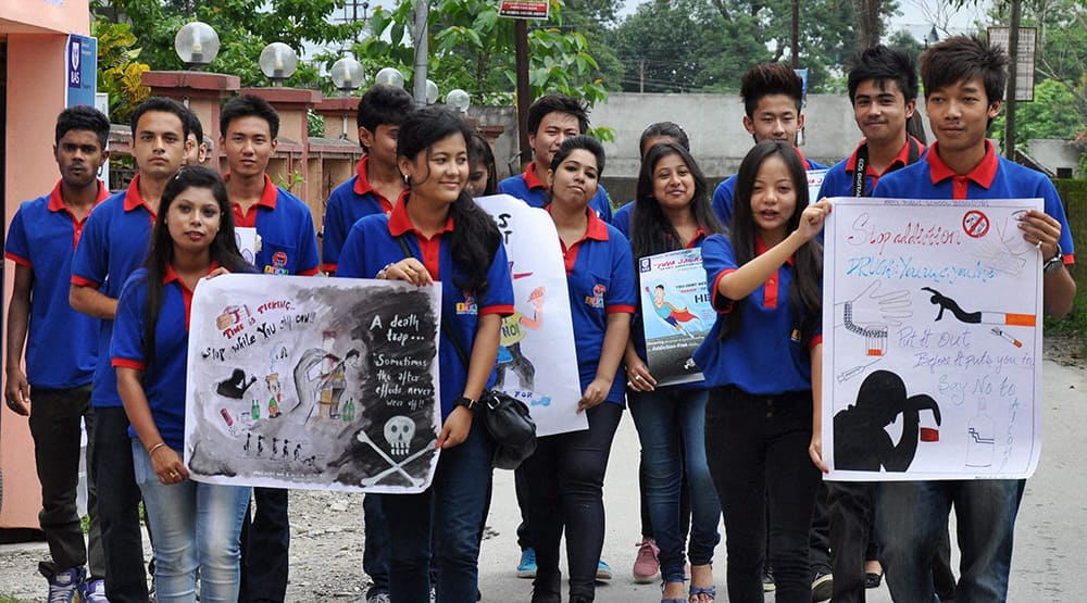 School students take part in an awareness rally against drugs in Siliguri.