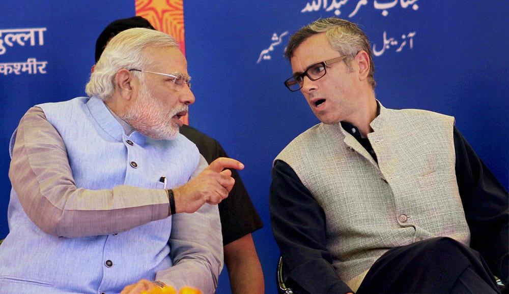 Prime Minister Narendra Modi with Jammu & Kashmir Chief Minister, Omar Abdullah during the flag off ceremony of the first train (Shri Shakti Express) to Udhampur, from Katra Railway Station.