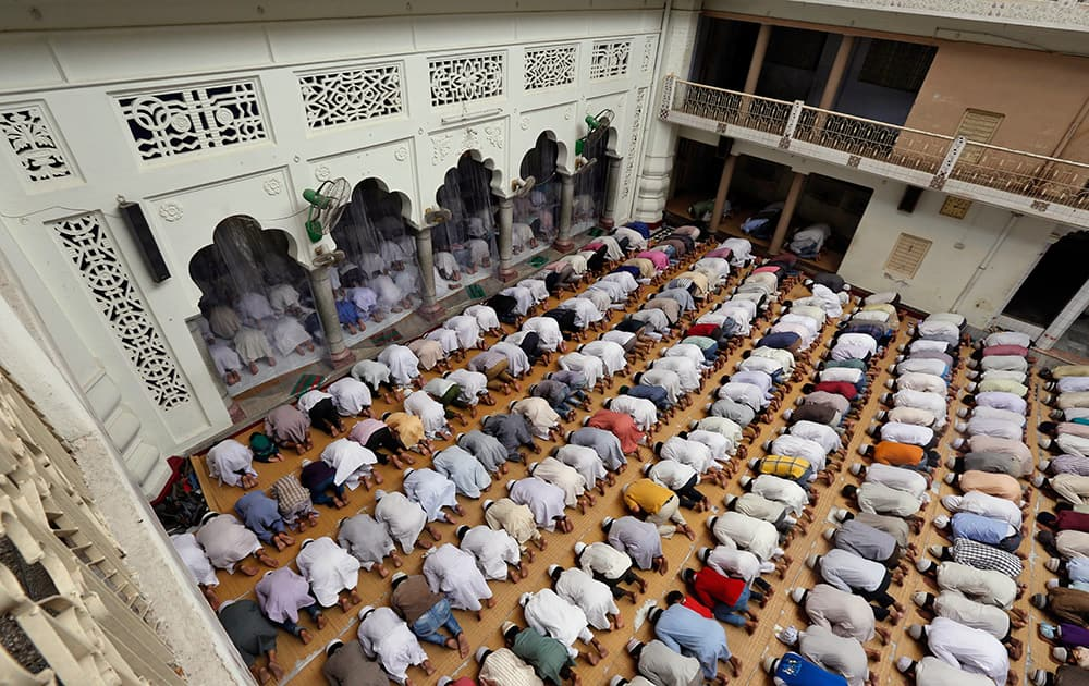 Muslims offer Friday prayers at the Vasi Ullah mosque in Allahabad.