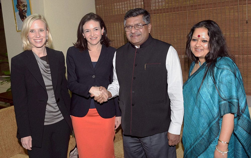 Communications and IT Minister Ravi Shankar Prasad shakes hands with COO, Facebook Sheryl Sandberg, during a meeting in New Delhi.