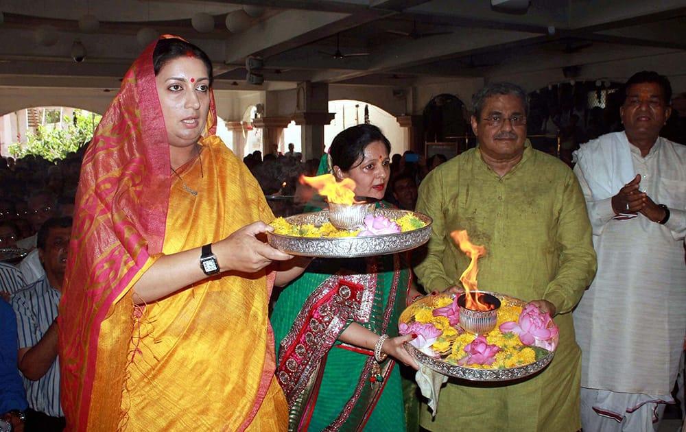 Union HRD Minister Smriti Irani offers prayers at Jagannath Temple in Ahmedabad.