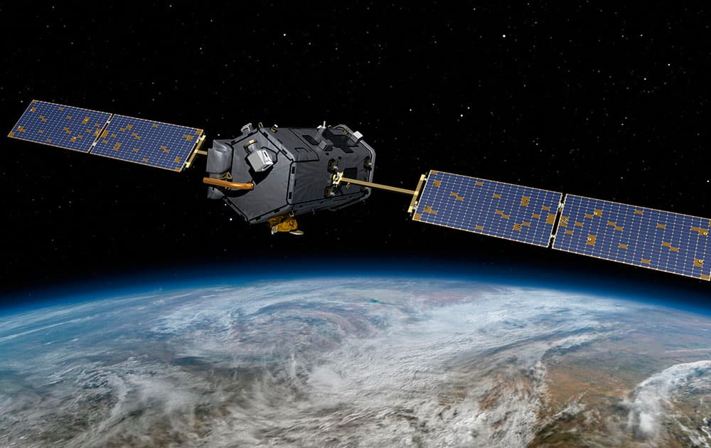 This May 15, 2014, artist concept rendering provided by NASA shows their Orbiting Carbon Observatory (OCO)-2. The OCO-2, managed by NASA`s Jet Propulsion Laboratory in Pasadena, Calif., will launch from Vandenberg Air Force Base, Calif., on a Delta II rocket on July 1, 2014.