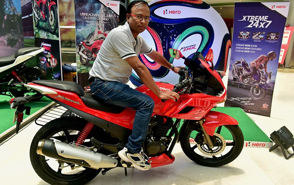 B Swaminathan, Hero MotoCorp senior area manager of Tamil Nadu and Pondicherry at the launch of three hi-end motorcycles in Chennai.