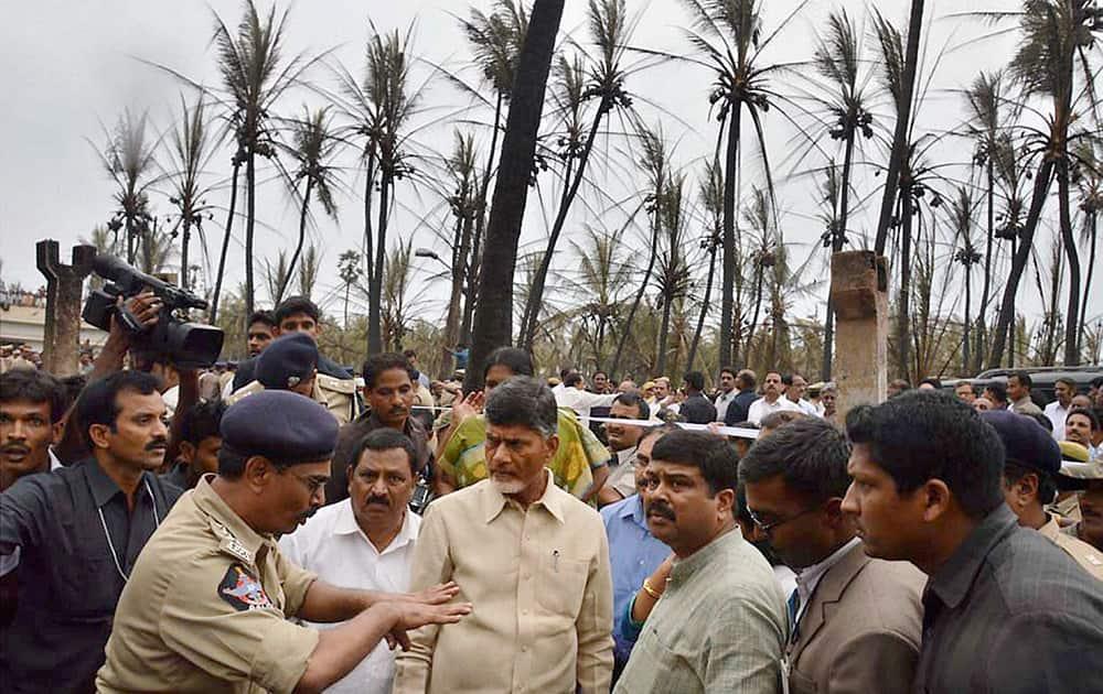 Petroleum Minister Dharmendra Pradhan and Andhra Pradesh Chief Minister N Chandrababu Naidu visit the site of the gas pipeline fire tragedy in Nagaram village near Rajahmundry in East Godavari district.
