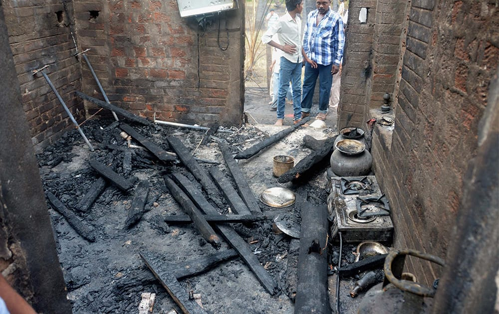Charred articles at a house in Nagaram village after GAIL gas leak fire near Rajahmundry in East Godavari district of Andhra.