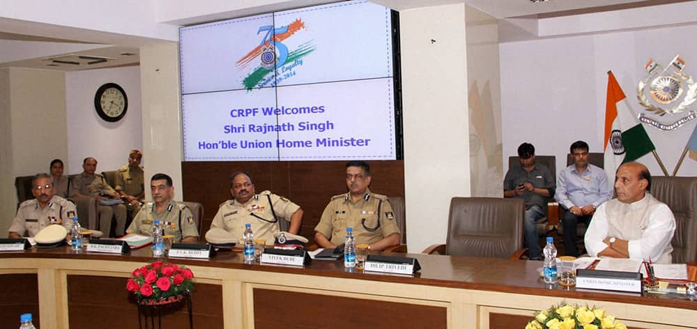 Union Home Minister, Rajnath Singh at a meeting during a visit to the Central Reserve Police Force (CRPF) headquarters in New Delhi.
