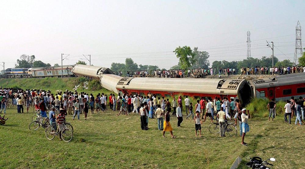 Rescue work in progress after 12 coaches of the Delhi-Dibrugarh Rajdhani Express derailed near Chapra in Bihar.