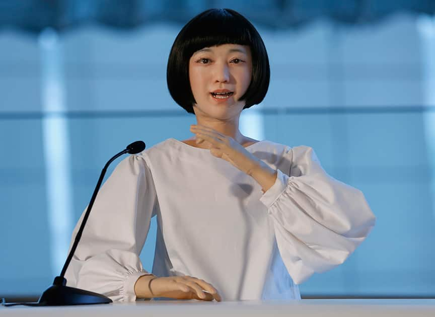 Android robot Kodomoroid speaks during a press event at the National Museum of Emerging Science and Innovation Miraikan in Tokyo.