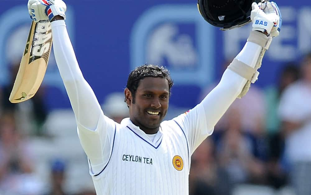 Sri Lanka`s Angelo Mathews celebrates a century during day four of the Second Test Match between England and Sri Lanka at Headingley cricket ground, Leeds, England.
