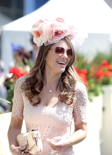 British actress Elizabeth Hurley arrives for day five of the 2014 Royal Ascot Meeting at Ascot Racecourse, Berkshire, England.