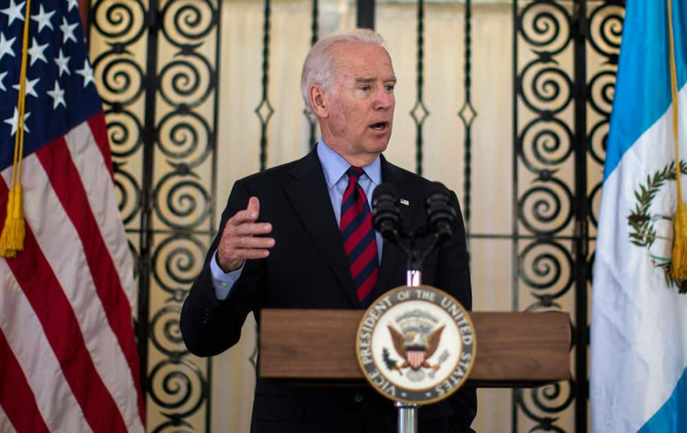 Vice President Joe Biden speaks during a news conference in Guatemala City.