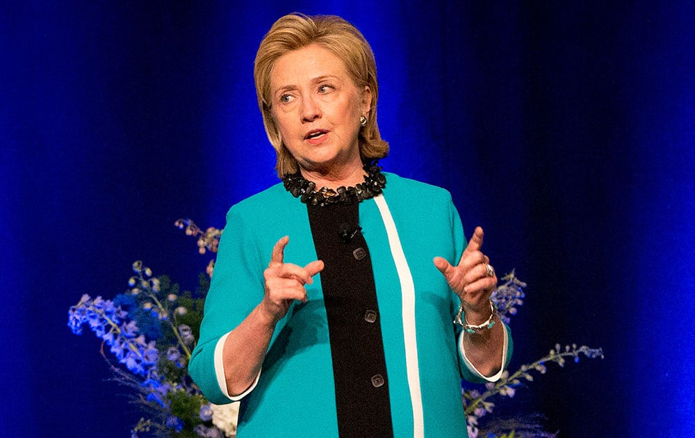 Former US Secretary of State Hillary Rodham Clinton delivers a keynote address during a luncheon in Edmonton, Alberta.