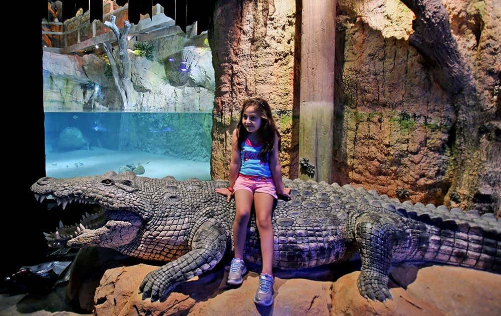 A girl poses for a photograph as she visits `King Croc,` a saltwater crocodile and his female companion of 20 years now residing in a special enclosure at Dubai Aquarium & Underwater Zoo, in Dubai, United Arab Emirates.