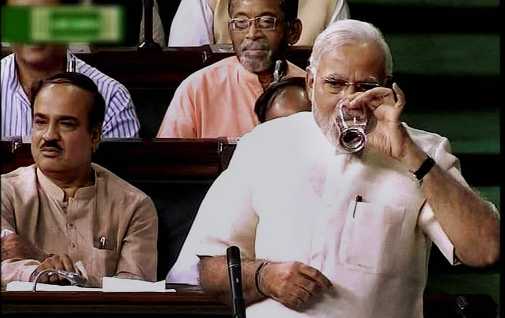Prime Minister Narendra Modi during the discussion on President`s address in Rajya Sabha in New Delhi.