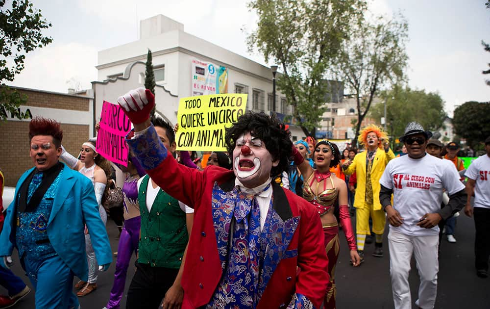 Clowns and other circus performers carry signs that read in Spanish `All of Mexico wants a circus with animals,