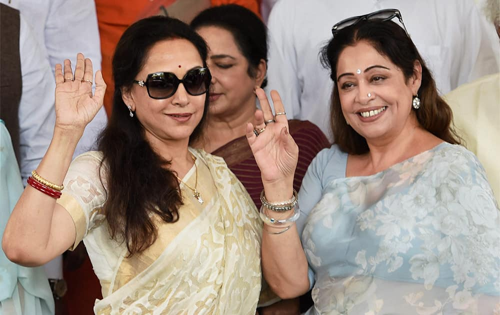 Actors and BJP members Hema Malini and Kirron Kher after the joint session of Parliament in New Delhi.