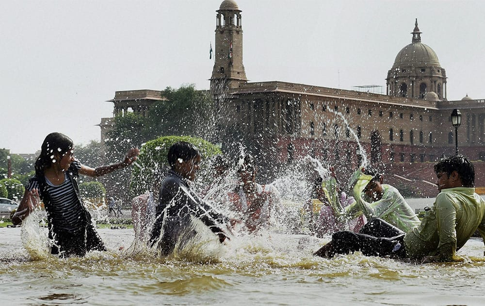 Youngsters beat the heat as mercury soars in New Delhi.