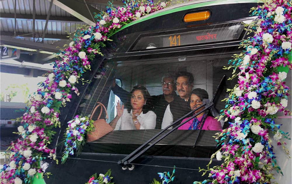Maharashtra Chief Minister Prithviraj Chavan and Teena Ambani inside the Mumbai`s first Metro starting from Versova station towards Ghatkopar station.