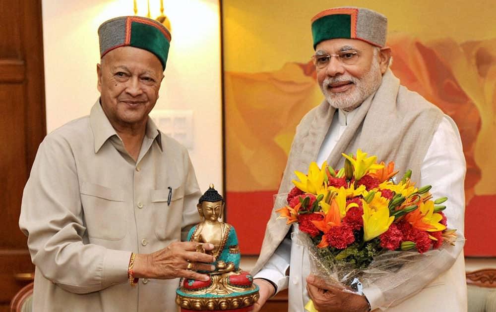 Chief Minister of Himachal Pradesh Virbhadra Singh calling on Prime Minister Narendra Modi in New Delhi.