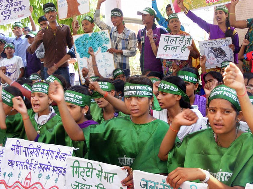 Students during an awareness programme ahead of World Environment Day in Varanasi.