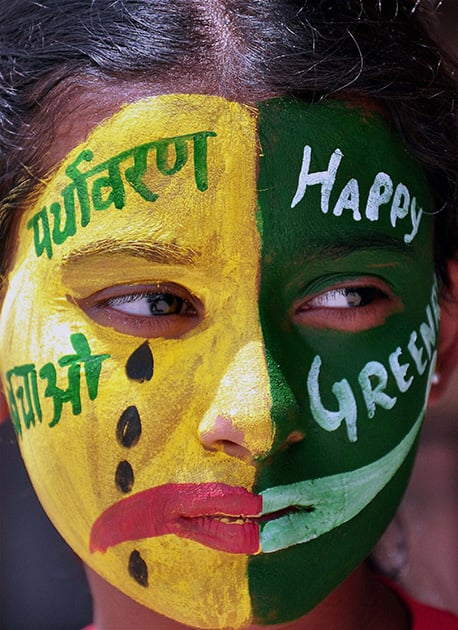A girl paints her face to create awareness about environment on the eve of the `World Environment Day` in Bikaner.