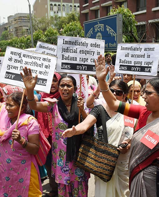 All India Democratic Women`s Association (AIDWA) activists protest against the Badaun rape case outside UP Bhawan in New Delhi