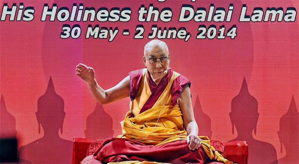 Tibetan Spiritual leader Dalai Lama gives a speech during the inauguration of Somaiya School.