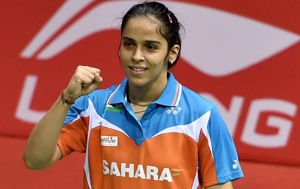 India`s Saina Nehwal reacts after beating Japan`s Minatsu Mitani in the Uber Cup semifinals in New Delhi.