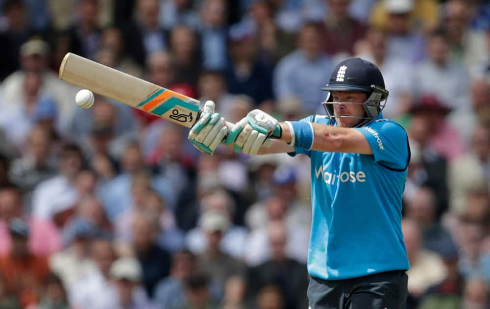 England`s Ian Bell hits a shot during the One Day cricket match between England and Sri Lanka at the Oval cricket ground in London.