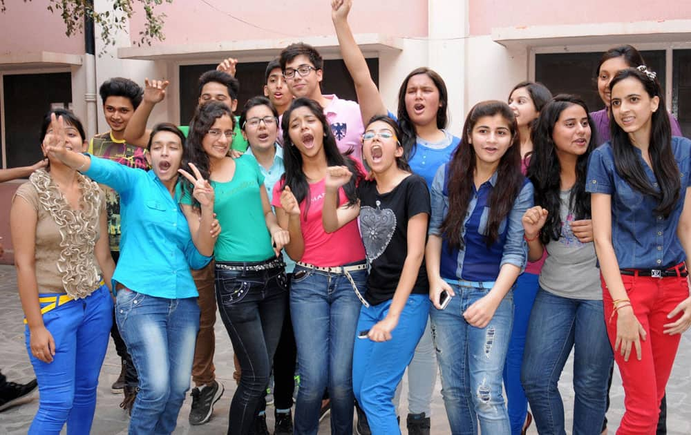 Students in Amritsar celebrate their success after the announcement of CBSE class X results.