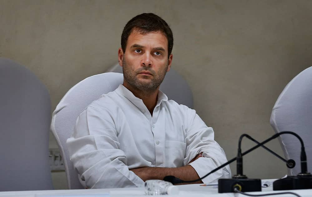 Congress party vice president and leader of the campaign Rahul Gandhi, attends a meeting of the Congress Working Committee to review the party's defeat in the general elections in New Delhi.