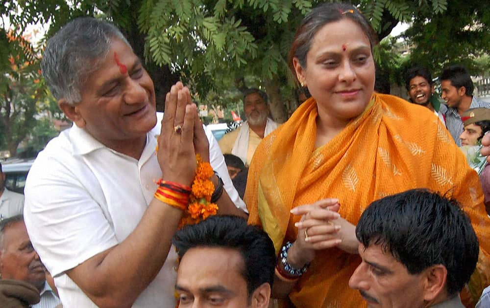 BJP candidate V K Singh after his victory in the Lok Sabha elections, in Ghaziabad.