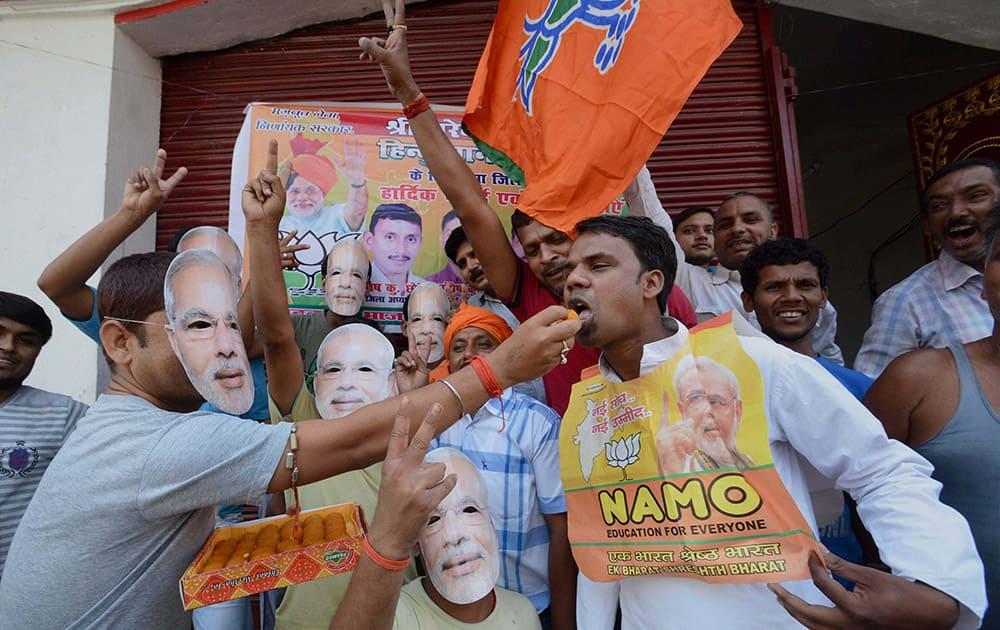 BJP workers celebrating the party`s victory in Lok Sabha polls, in Gaya.