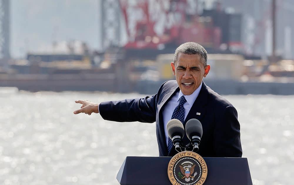 President Barack Obama speaks near the base of the Tappan Zee Bridge.
